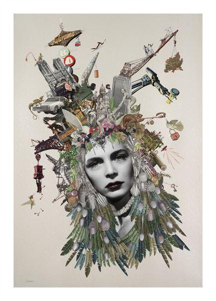Maria Rivans_Sabina_Original Collage using found printed ephemera on pearlised embossed paper_70x100cm_2016