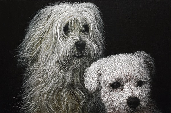 HAN YoungWook_Dog_Oil on Aluminum, Scratch_60x90cm_2014
