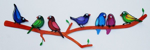 Birds on Branch/ Acrylic on Aluminum / 33 x 100 cm