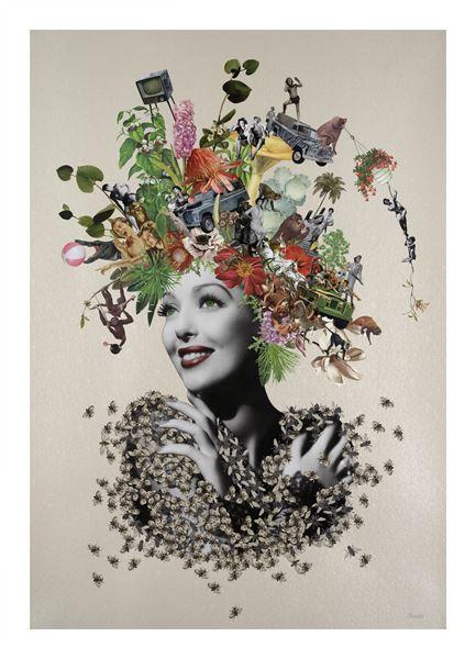 Maria Rivans_Savannah_Original Collage using found printed ephemera on pearlised embossed paper_70x100cm_2016
