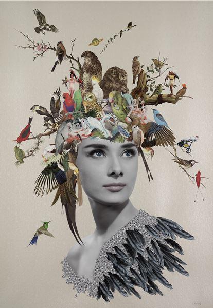 Original Collage Using found printed ephemera on pearlised embossed papaer, 70x100cm, 2016