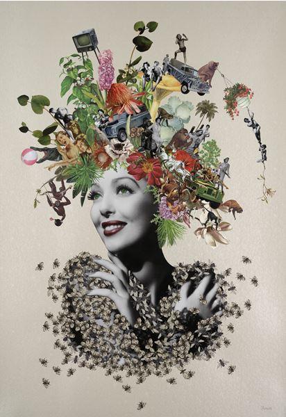 Original Collage using found printed ephemera on pearlised embossed paper, 70x100cm, 2016