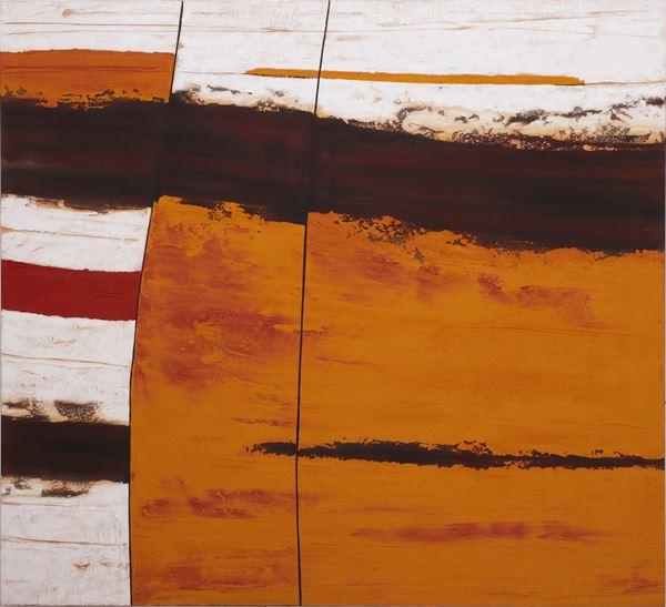 Limestone Rockface Strata #3, 2013, Sand,pigment &acrylic on canvas, 152x168cm