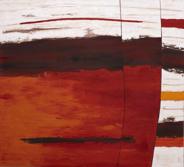 Limestone Rockface Strata #5, 2013, Sand, pigment & acrylic on canvas,  152x168cm