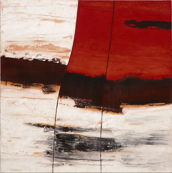 Limestone Split#1, 2013, Sand, pigment & acrylic on canvas, 101x101cm