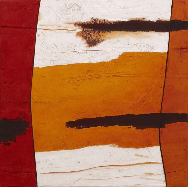 Rockface Strata Kimberley #3, 2013, Sand,pigment & acrylic on canvas,  76x76cm