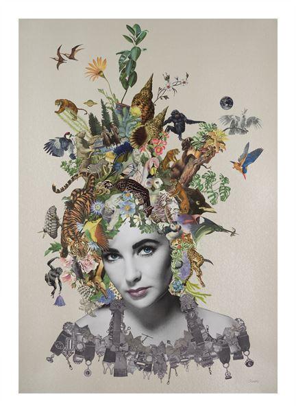 Maria Rinvas_Violet_Original Collage using found printed ephemera on pearlised embossed paper_70x100cm_2016