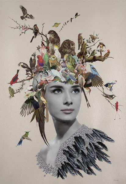 Maria Rivans_Anya_Original Collage Using found printed ephemera on pearlised embossed papaer_70x100cm_2016