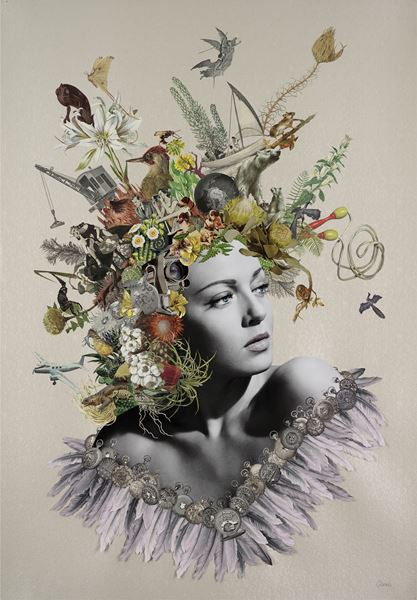 Maria Rivans_Cora_ Original Collage using found printed ephemera on pearlised embossed paper_70x100cm_2016