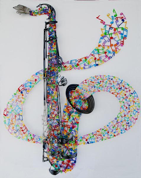 Saxophone, Acrylic on Steel, 113x90x10cm, 2015