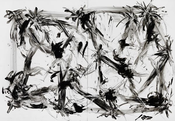 Untitled1, 109x157cm, Hand painted, Korean Traditional ink, on paper, 2016