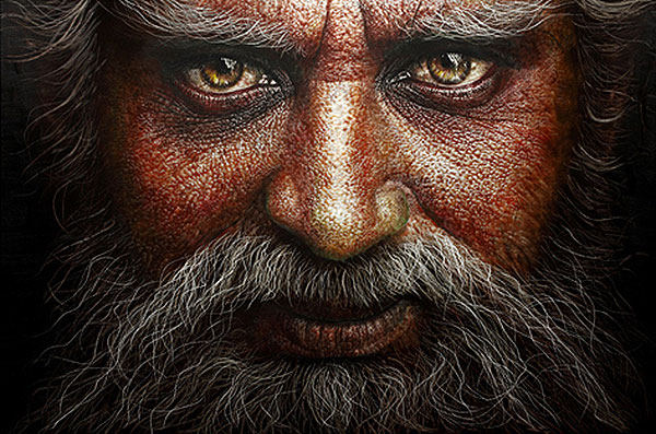 HAN YoungWook_Face_Oil on Aluminum, Scratch_140x211cm_2012