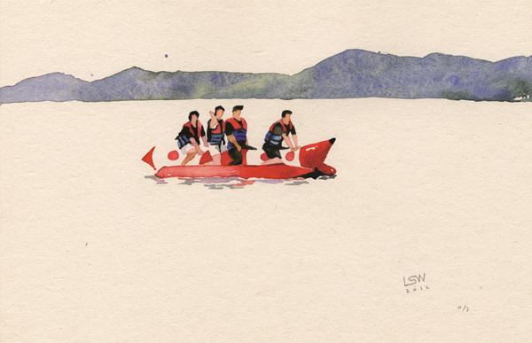 Banana Boat, 15x23.1cm, watercolor on paper, 2012