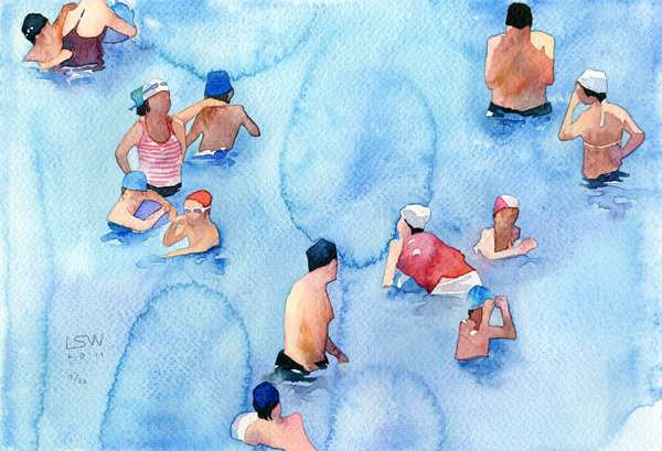 Swimming Pool, 18x26cm, watercolor on paper, 2011