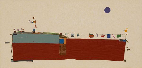 깨우기, 45x94cm, 석채혼합, 2015