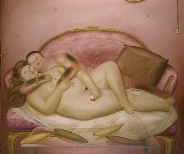 보테로_Lovers on a french sofa_Oil on canvas_164 x 171.5cm_1972