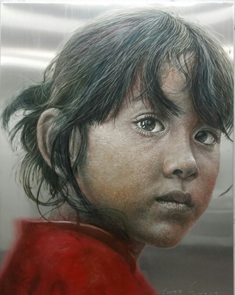 HAN YoungWook_Face_Oil on Aluminum, Scratch_93x117cm_2015