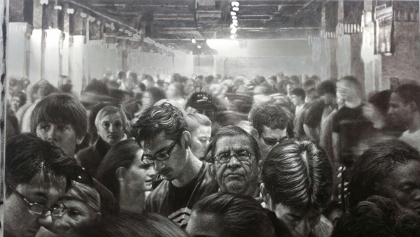 HAN YoungWook_Crowd_Oil on Aluminum, Scratch_112x194cm_2015