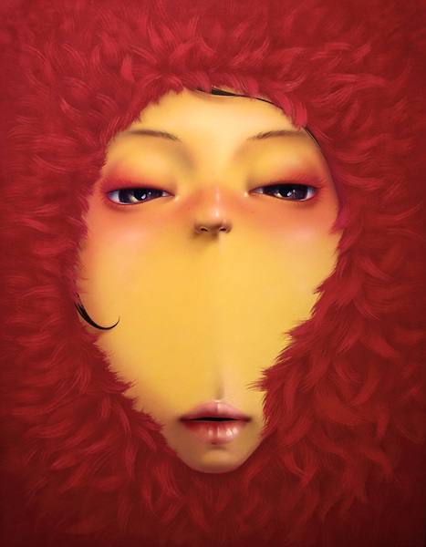 KIM KwangHyun_Red Fur_ Acrylic on Korean paper_53x45cm_2015
