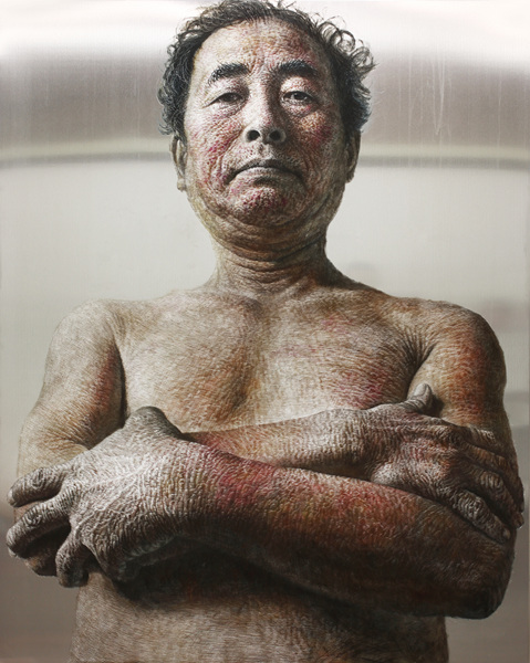 HAN YoungWook_One Man_Oil on Aluminum, Scratch_162x130cm_2014