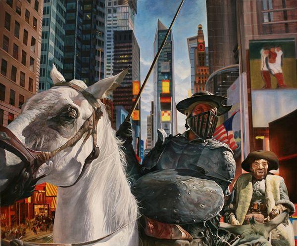 Don Quixote in the city, Oil on canvas, 60.6x72.7cm, 2014