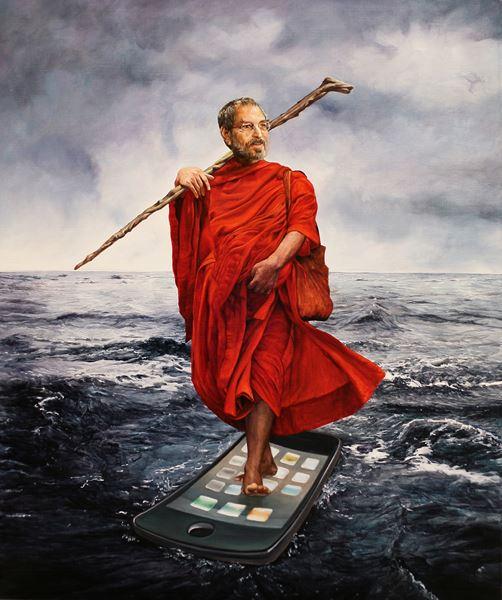Bodhi Dharma (達磨大師) Steve Jobs, Oil on canvas, 72.7x60.6cm, 2014