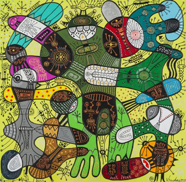 Happy Cell, Mixed media on canvas, 62x62cm, 2013