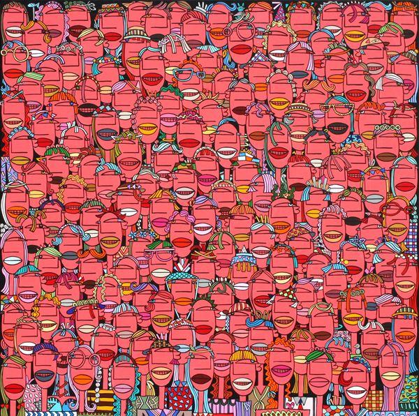 군중 - crowd, Acrylic on canvas, 80.3x80.3cm, 2014