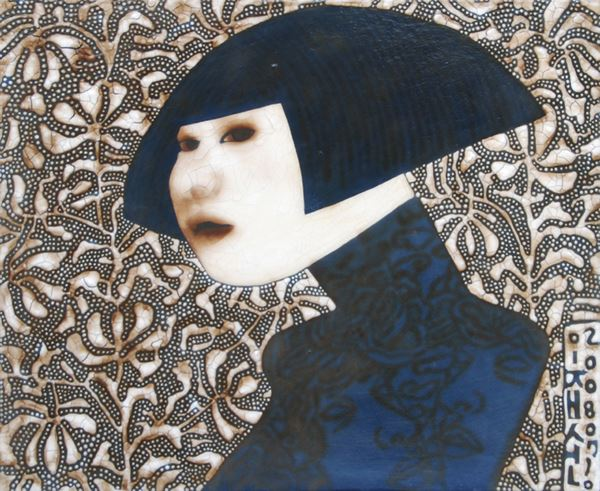 미술관 가는 길 - The way to the gallery, Paint and Varnish on Cloth, 50x61cm, 2008