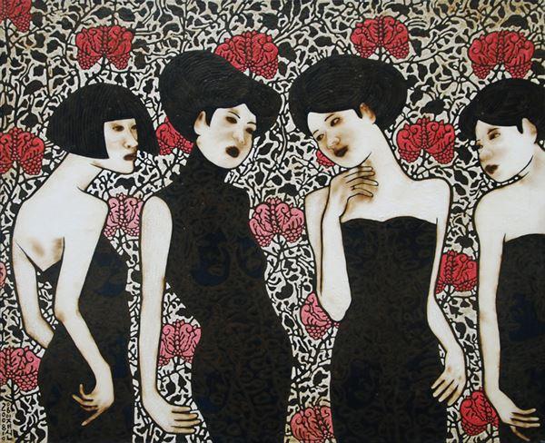 무제 - untitled, Paint and Varnish on Cloth, 130x160cm, 2008