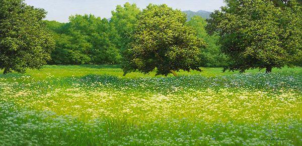 고요한 들판, Silent Field, Oil on Canvas, 49.5x100cm, 2014