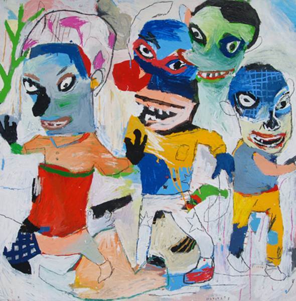 Starsky Brines_You do not hear his version_Acrylic, Oil on Canvas_110x110cm_2012