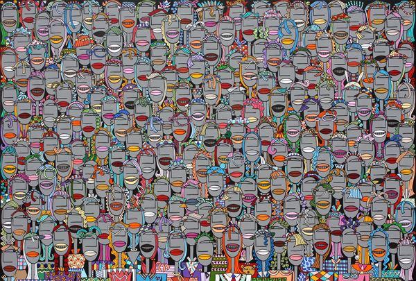 군중2014-17, acrylic on canvas, 80.3x116.7cm, 2014