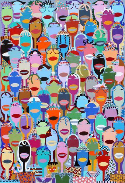 군중2014-16, acrylic on canvas, 72.7x 50cm, 2014