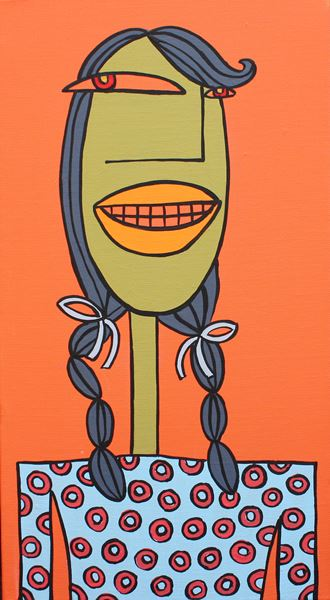 군중61, acrylic on canvas, 25.8x14cm, 2014