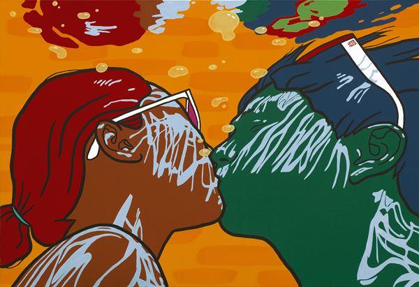 kiss, acrylic on canvas, 112x162cm, 2014