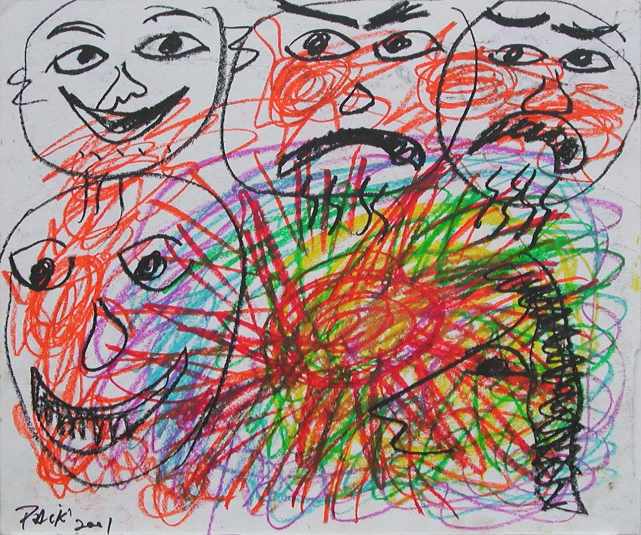NamJune Paik_喜怒哀樂_Crayon on Paper_35x43cm_2001