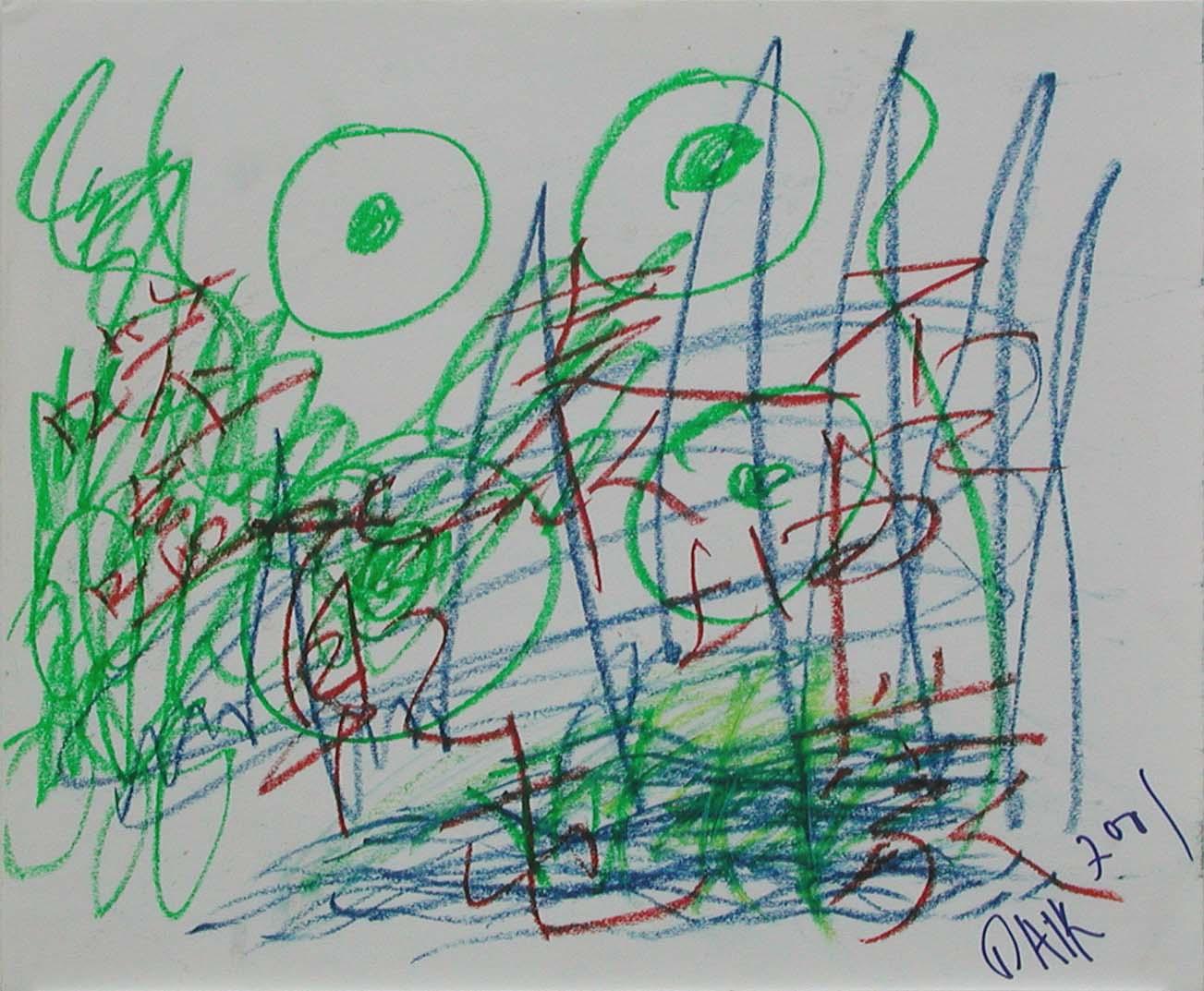 NamJune Paik_亁坤屯夢_Crayon on Paper_35x43cm_2001