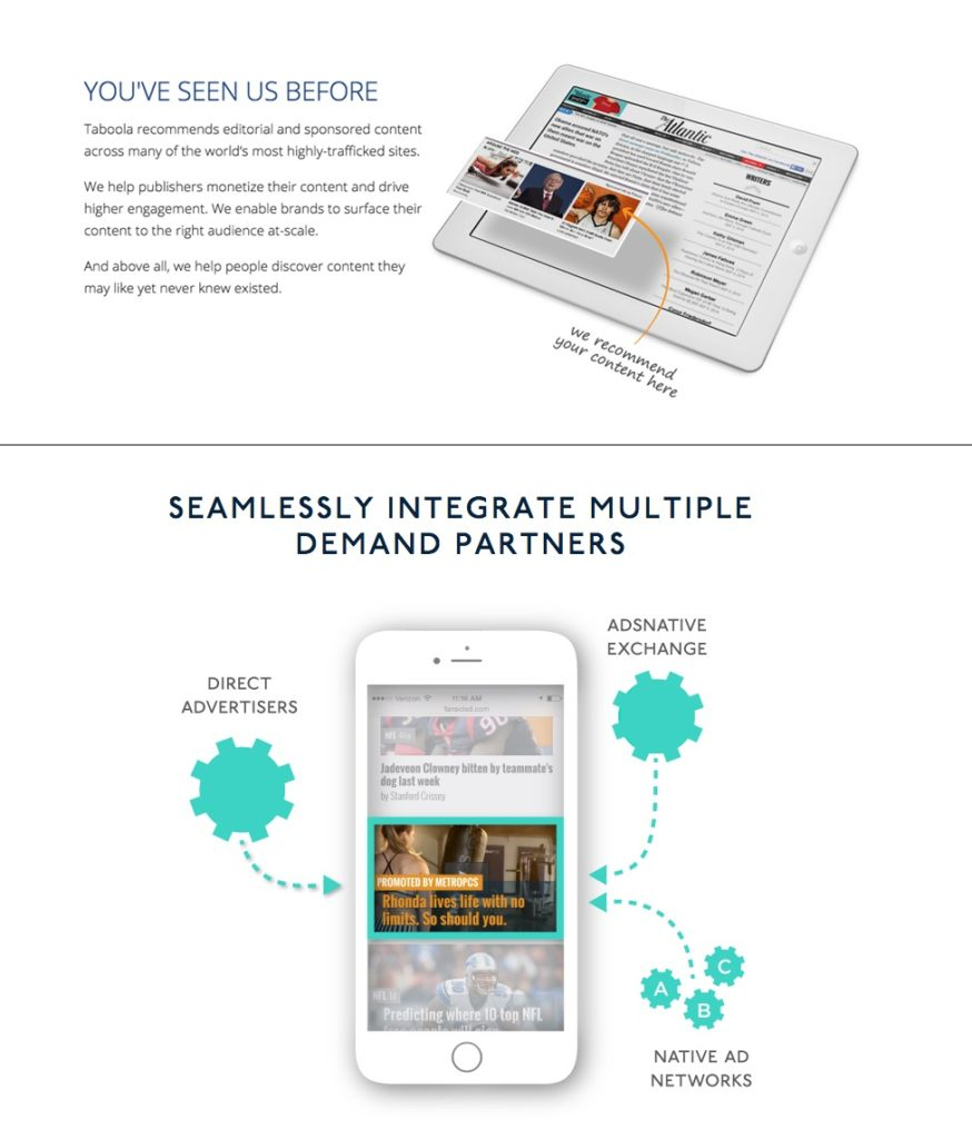콘텐츠형 네이티브 광고(사진 위쪽), 피드형 광고