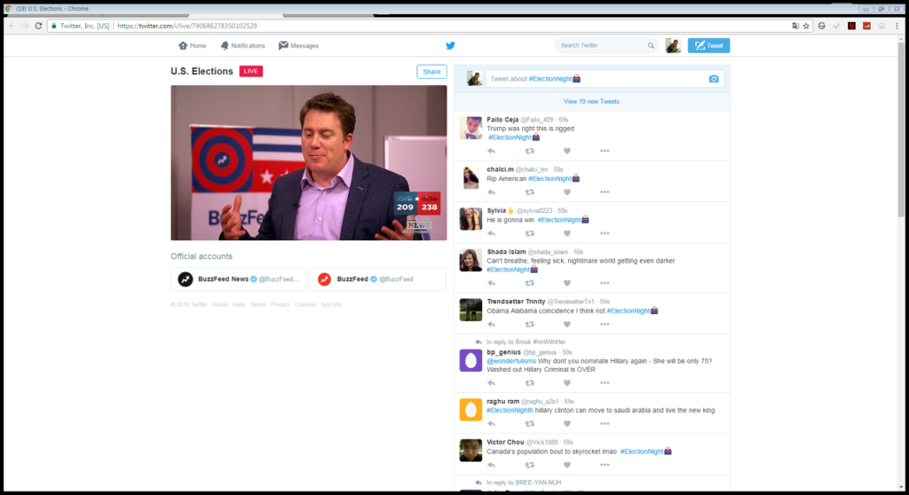 버즈피드는 트위터를 통해 단독으로 중계를 했습니다. 천만명 이상이 시청한 것으로 예상 (오른쪽에 채팅하듯이 트윗을 날릴 수 있게 메뉴를 개선 했습니다)