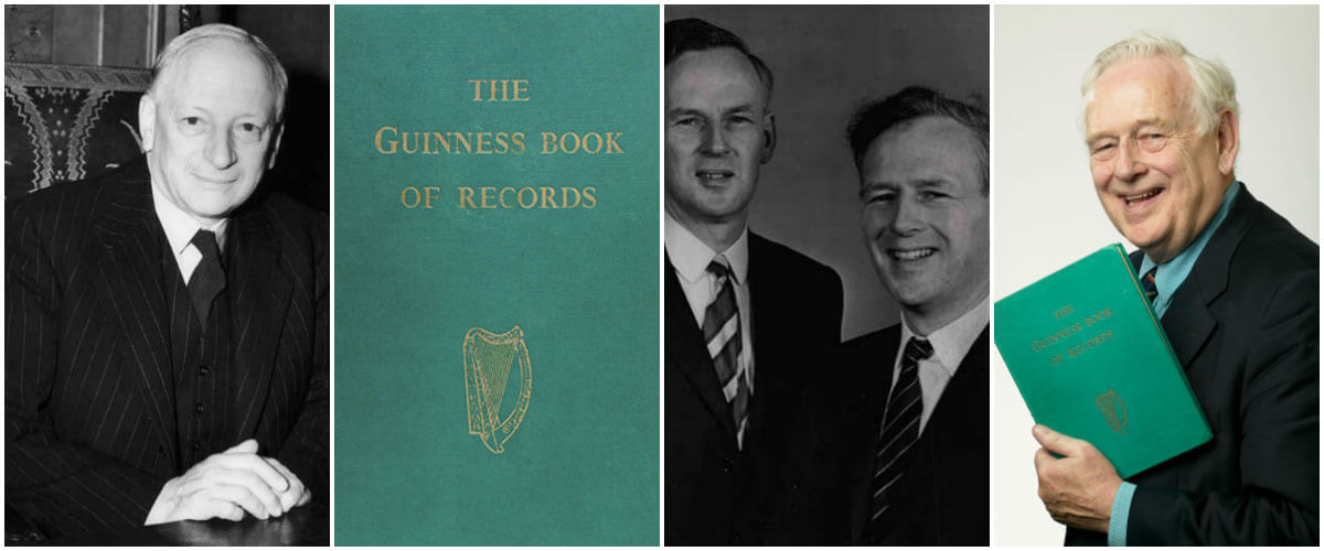 (왼쪽부터) 휴 비버 경, 최초의 기네스북 양장본, 맥훠터 형제, 노리스 맥훠터 (출처: 기네스 세계기록 웹사이트)