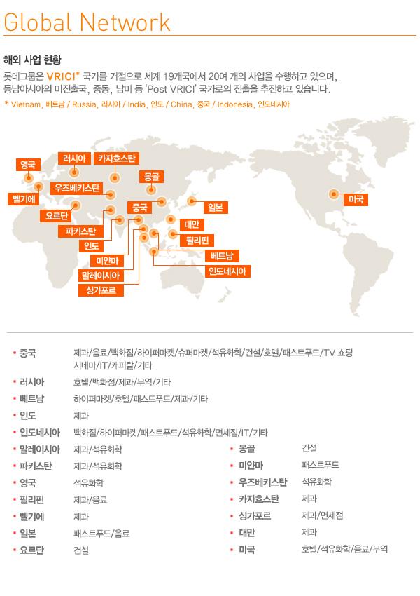 롯데 글로벌 네트워크 인포그래픽