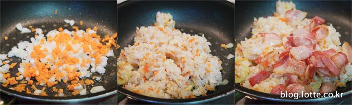 베이컨 기름에 채소를 잘 볶은 후 밥을 넣어 함께 볶습니다. 어느 정도 다 볶아졌으면 베이컨도 함께 넣어 볶아요