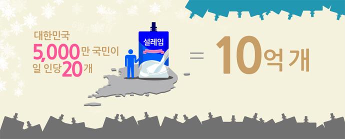 설레임 10억 개는 대한민국 국민이 일 인당 20개씩 먹을 수 있는 양!