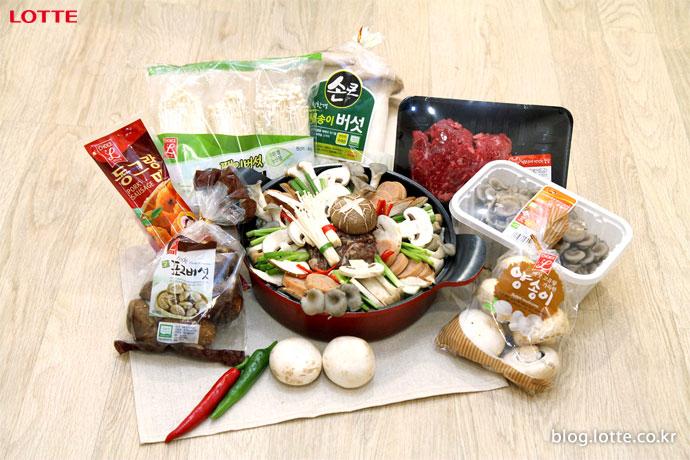 버섯전골 요리와 재료들