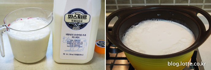 우유와 생크림 끓이기