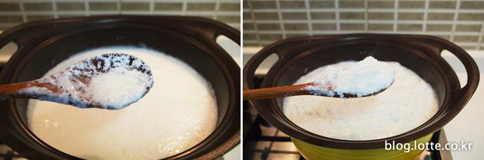 순두부처럼 덩어리가 질 때까지 끓이기