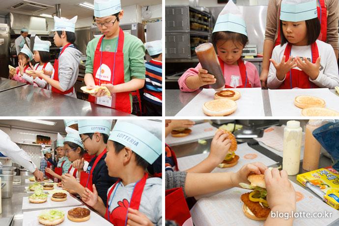 햄버거 만드는 어린이 참가자들