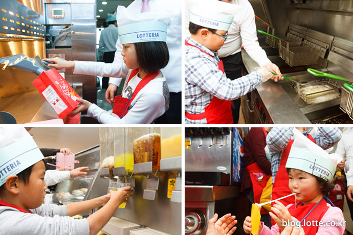 롯데리아 디저트 메뉴를 만들고 있는 어린이 참가자들