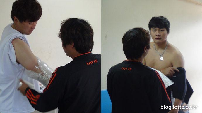 열심히 연습 후 트레이너에게 검진받는 이상화 선수(좌)와 정태승 선수(우)